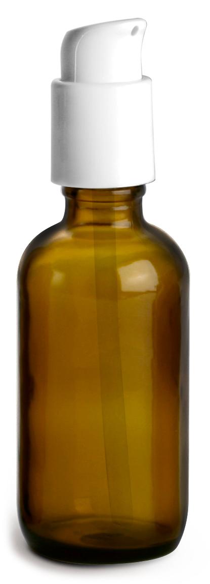2 oz  Amber Glass Boston Round Bottles w/ White Treatment Pumps