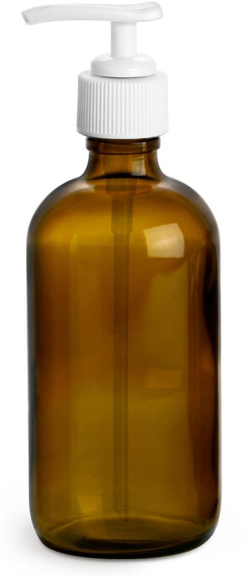 Amber Glass Boston Round Bottles w/ White Lotion Pumps