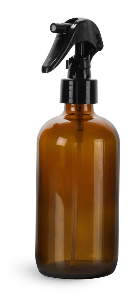 8 oz Amber Glass Boston Round Bottles w/ Black Polypropylene Mini Trigger Sprayers