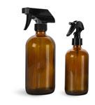 Amber Glass Bottles, Boston Round Bottles w/ Black Trigger Sprayers