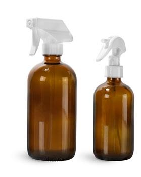 Glass Bottles, Amber Glass Boston Round Bottles w/ White Trigger Sprayers