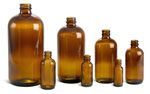 4 oz        Amber Glass Round Bottles