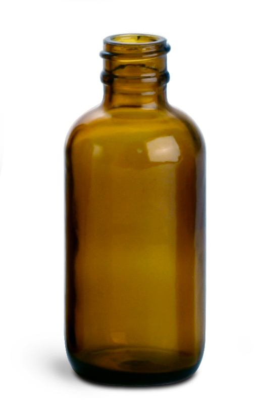2 oz        Amber Glass Round Bottles (Bulk), Caps NOT Included