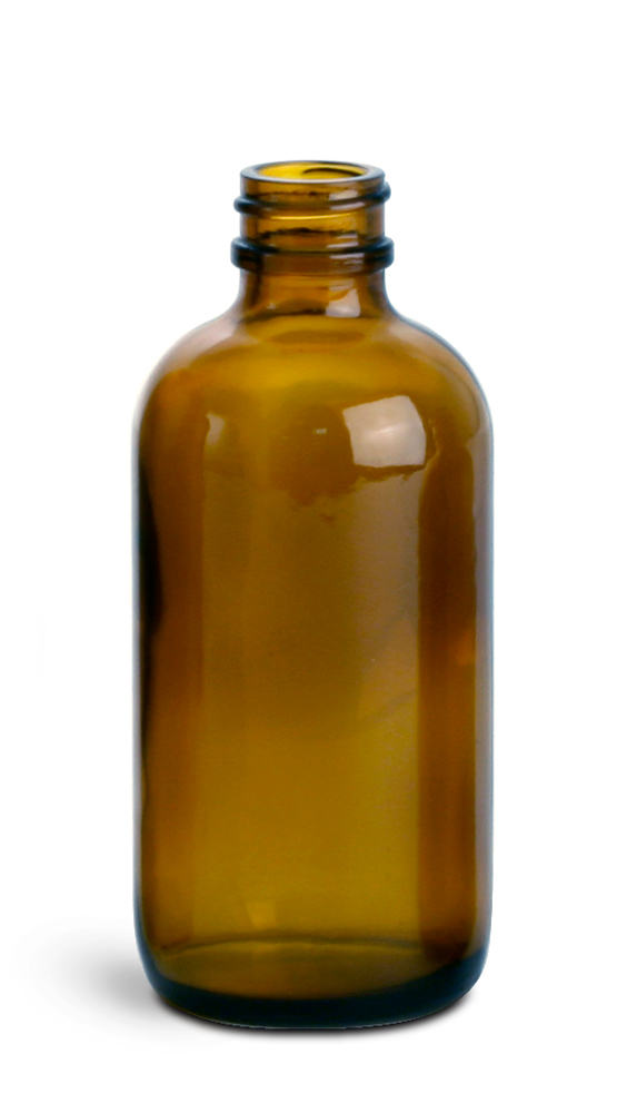 4 oz        Amber Glass Round Bottles (Bulk), Caps NOT Included
