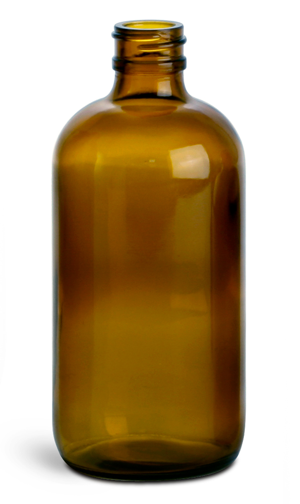 8 oz        Amber Glass Round Bottles (Bulk), Caps NOT Included