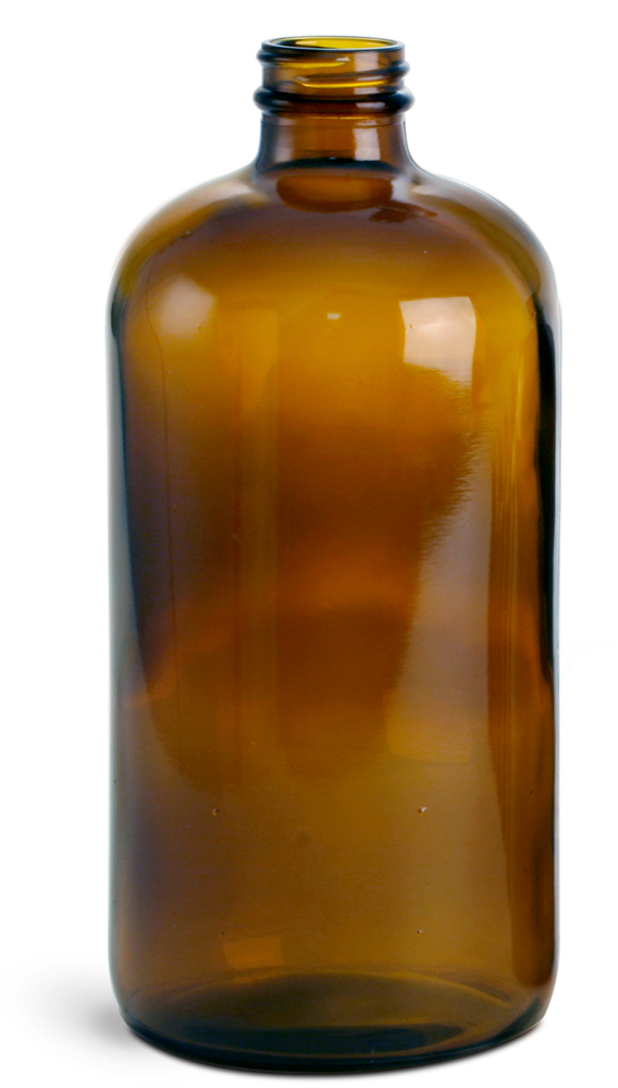 32 oz        Amber Glass Round Bottles (Bulk), Caps NOT Included