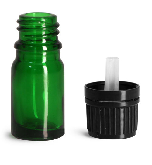 5 ml Glass Bottles, Green Glass Euro Dropper Bottles w/ Black Tamper Evident Caps & Orifice Reducers