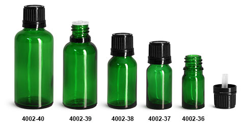 Glass Bottles, Green Glass Euro Dropper Bottles w/ Black Tamper Evident Caps & Orifice Reducers