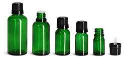 Green Glass Euro Dropper Bottles w/ Black Tamper Evident Caps & Orifice Reducers