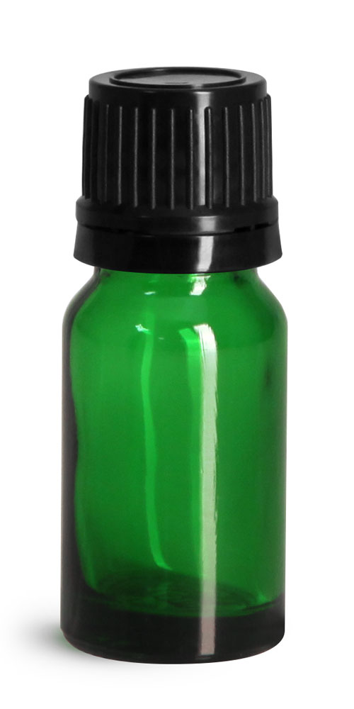 10 ml Glass Bottles, Green Glass Euro Dropper Bottles w/ Black Tamper Evident Caps & Orifice Reducers