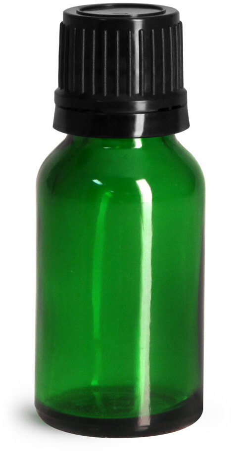 Glass Bottles, Green Glass Euro Dropper Bottles w/ Black Tamper Evident Caps & Orifice Reducers