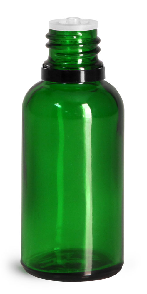 30 ml Glass Bottles, Green Glass Euro Dropper Bottles w/ Black Tamper Evident Caps & Orifice Reducers