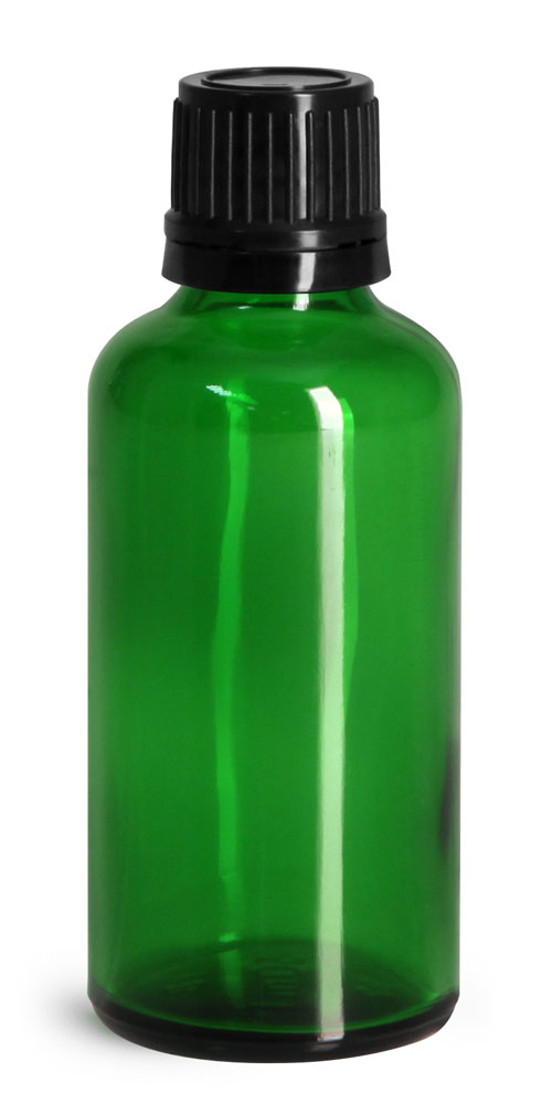 50 ml Glass Bottles, Green Glass Euro Dropper Bottles w/ Black Tamper Evident Caps & Orifice Reducers