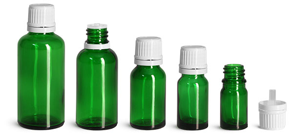 Glass Bottles, Green Glass Euro Dropper Bottles w/ White Tamper Evident Caps & Orifice Reducers