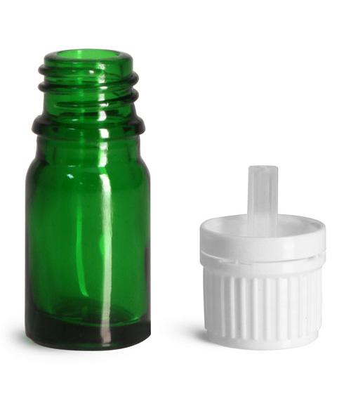 5 ml Glass Bottles, Green Glass Euro Dropper Bottles w/ White Tamper Evident Caps & Orifice Reduce