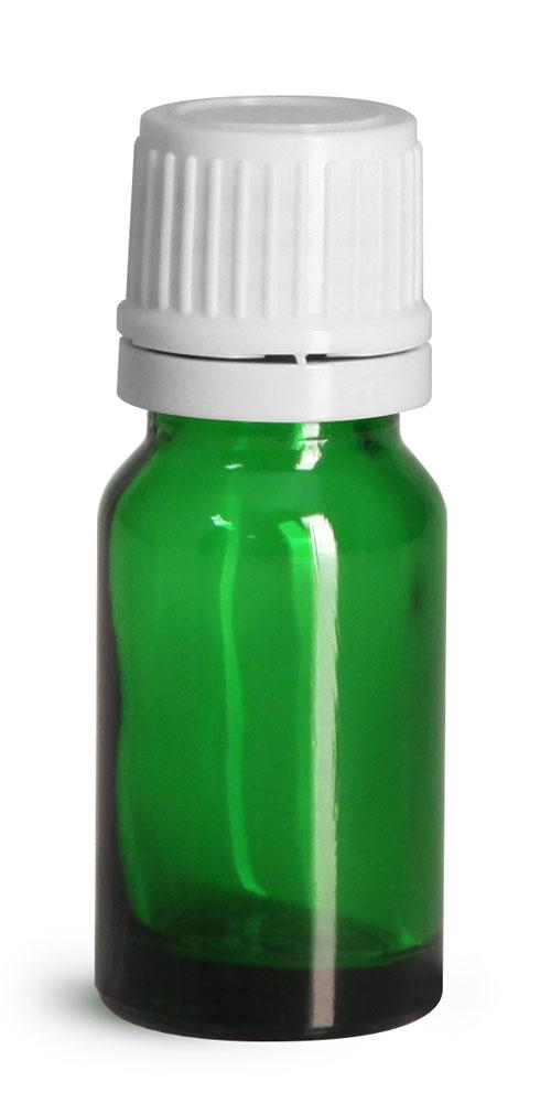 10 ml Glass Bottles, Green Glass Euro Dropper Bottles w/ White Tamper Evident Caps & Orifice Reduce