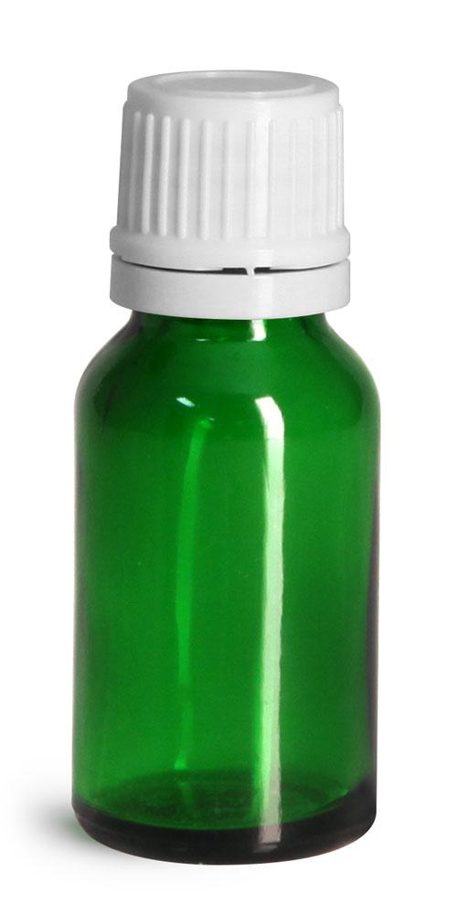 15 ml Glass Bottles, Green Glass Euro Dropper Bottles w/ White Tamper Evident Caps & Orifice Reduce
