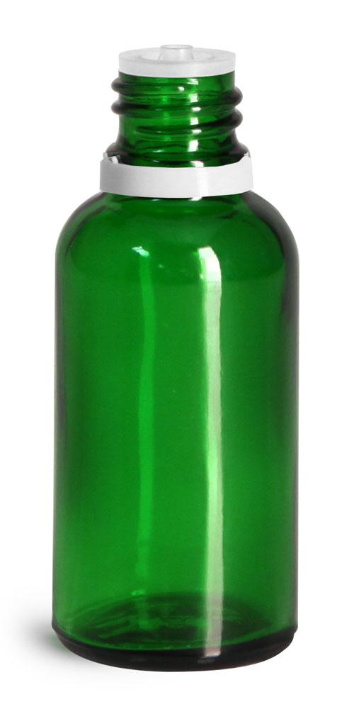 30 ml Glass Bottles, Green Glass Euro Dropper Bottles w/ White Tamper Evident Caps & Orifice Reduce