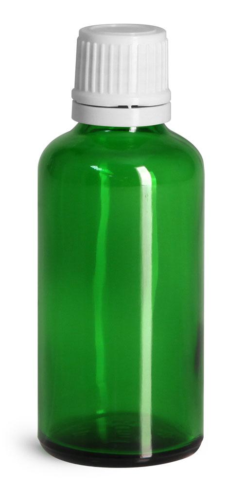 50 ml Glass Bottles, Green Glass Euro Dropper Bottles w/ White Tamper Evident Caps & Orifice Reduce