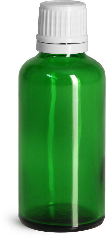 Glass Bottles, Green Glass Euro Dropper Bottles w/ White Tamper Evident Caps & Orifice Reduce