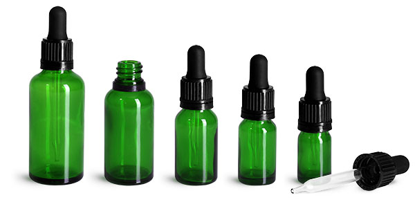 Glass Bottles, Green Glass Euro Dropper Bottles w/ Black Tamper Evident Bulb Droppers