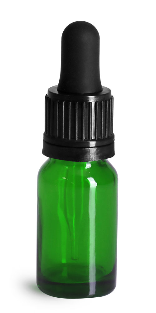 10 ml Glass Bottles, Green Glass Euro Dropper Bottles w/ Black Tamper Evident Bulb Droppers