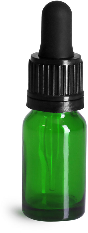 Glass Bottles, Green Glass Euro Dropper Bottles w/ Black Tamper Evident Bulb Droppers