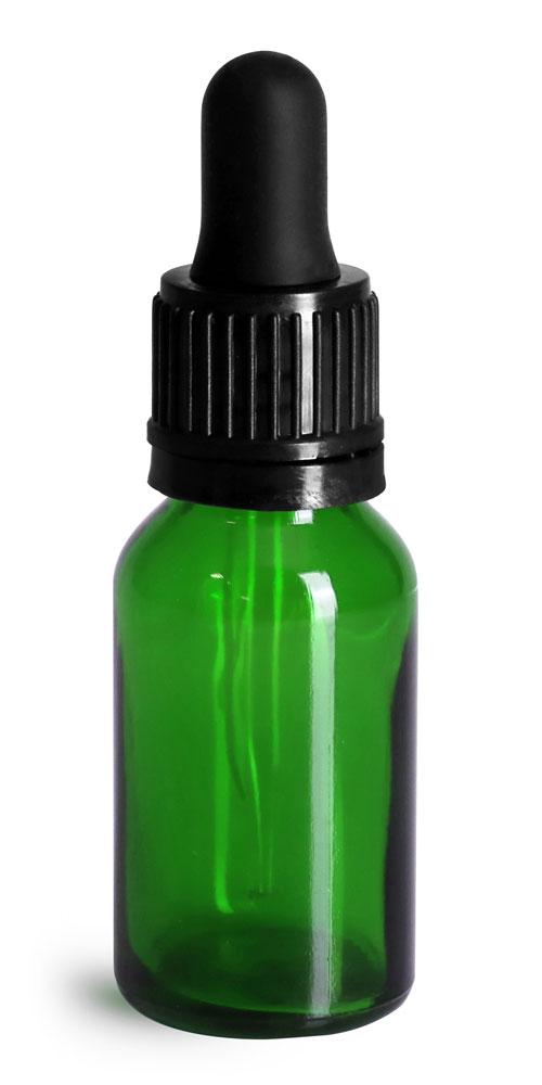 15 ml Glass Bottles, Green Glass Euro Dropper Bottles w/ Black Tamper Evident Bulb Droppers