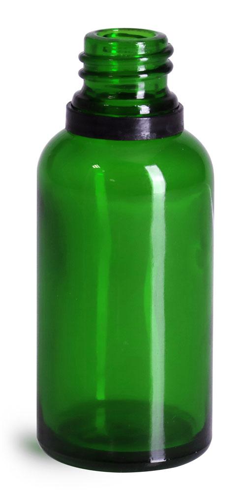 30 ml Glass Bottles, Green Glass Euro Dropper Bottles w/ Black Tamper Evident Bulb Droppers