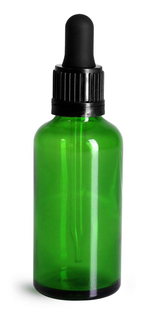 50 ml Glass Bottles, Green Glass Euro Dropper Bottles w/ Black Tamper Evident Bulb Droppers