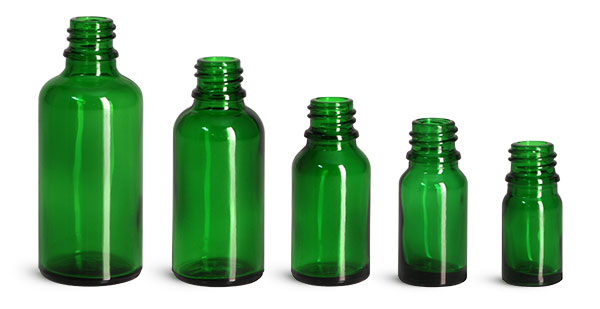 Green Glass Euro Dropper Bottles (Bulk), Caps NOT Included