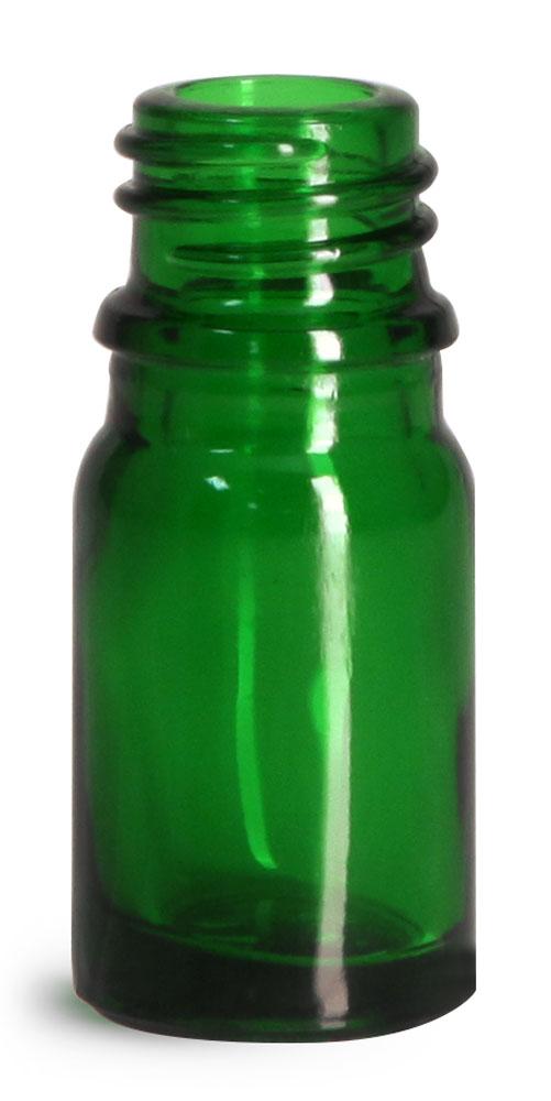 5 ml Glass Bottles, Green Glass Euro Dropper Bottles (Bulk), Caps NOT Included