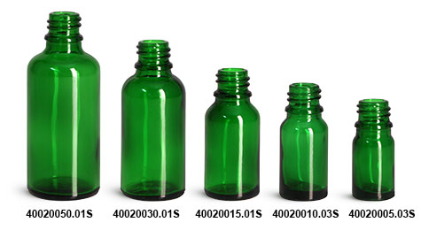 Glass Bottles, Green Glass Euro Dropper Bottles (Bulk), Caps NOT Included