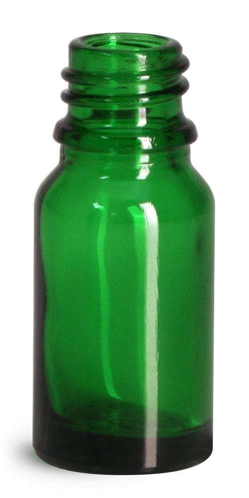 10 ml Glass Bottles, Green Glass Euro Dropper Bottles (Bulk), Caps NOT Included