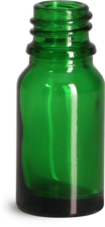 Glass Bottles, Green Glass Euro Dropper Bottles (Bulk), Caps NOT Included