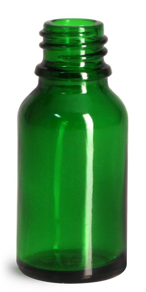 15 ml Glass Bottles, Green Glass Euro Dropper Bottles (Bulk), Caps NOT Included