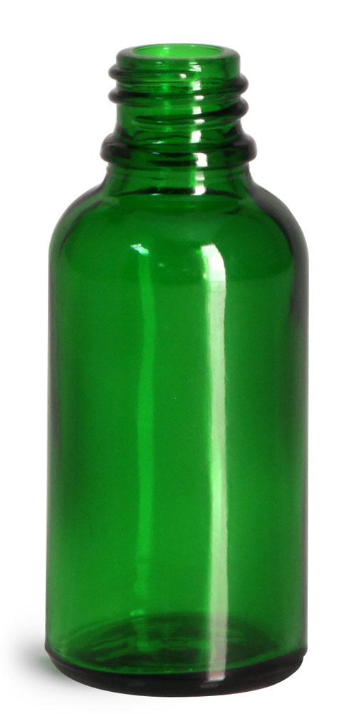30 ml Glass Bottles, Green Glass Euro Dropper Bottles (Bulk), Caps NOT Included