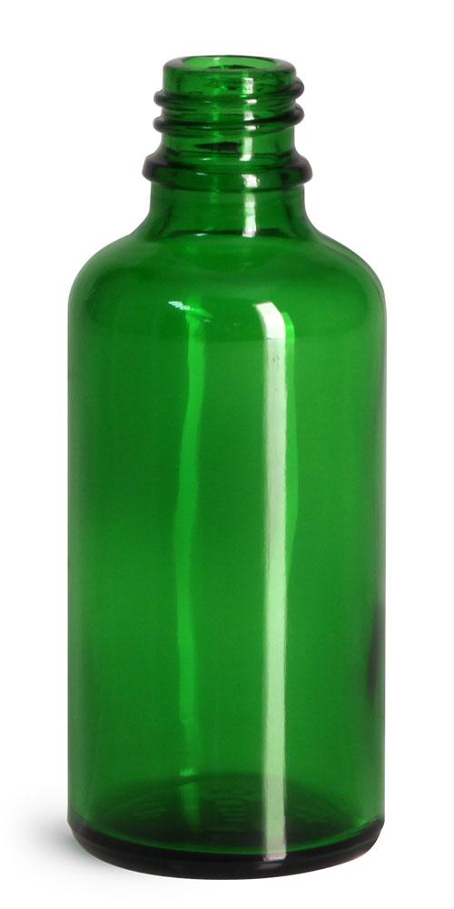 50 ml Glass Bottles, Green Glass Euro Dropper Bottles (Bulk), Caps NOT Included