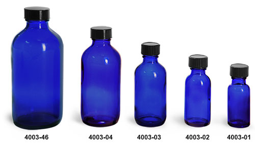 Glass Bottles, Blue Glass Boston Round Bottles w/ Black Phenolic Cone Lined Caps