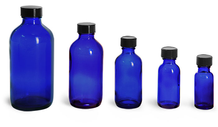 Blue Glass Bottles, Boston Round Bottles w/ Black Phenolic Cone Lined Caps