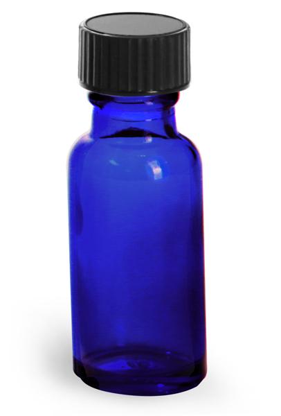 1/2 oz         Blue Glass Round Bottles w/ Black Phenolic Cone Lined Caps