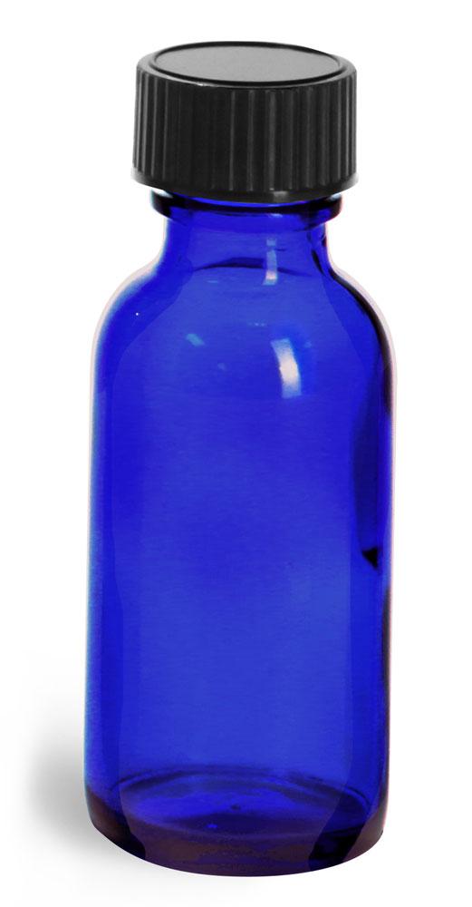 1 oz         Blue Glass Round Bottles w/ Black Phenolic Cone Lined Caps