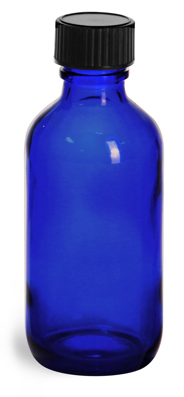 2 oz         Blue Glass Round Bottles w/ Black Phenolic Cone Lined Caps