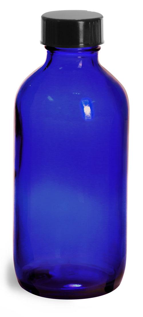 4 oz         Blue Glass Round Bottles w/ Black Phenolic Cone Lined Caps