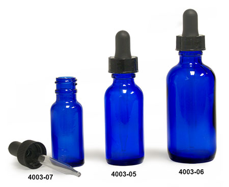 Blue Glass Bottles, Boston Round Bottles with Black Droppers