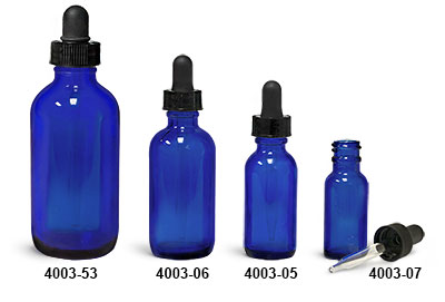Glass Bottles, Blue Glass Boston Round Bottles w/ Black Bulb Glass Droppers