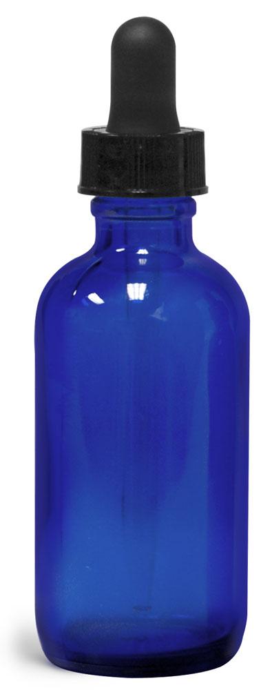 2 oz       Blue Glass Round Bottles w/ Black Bulb Glass Droppers
