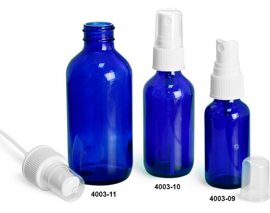Glass Bottles, Blue Glass Boston Round Bottles w/ White Ribbed Fine Mist Sprayers