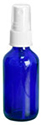 2 oz        2 oz        Blue Cobalt Glass Round Bottles w/ White Fine Mist Sprayers
