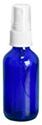 2 oz       2 oz        Blue Cobalt Glass Round Bottles w/ White Fine Mist Sprayers